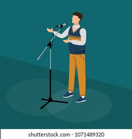 Vector illustration of man's perfomance on stage. Man talking into microphone.