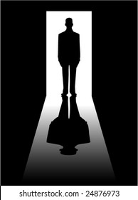 vector illustration of a man's silhouette standing in a doorway