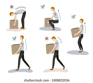 Vector illustration of manual handling of loads. A man lifts up a heavy load in correct and incorrect way for his back.