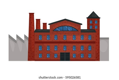 Vector illustration of  Manufacturing factory building. Industrial factory vector flat illustration. old factory