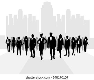 Vector illustration of a many businessmen going