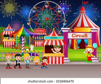 vector illustration of Many Childrens and people worker having fun in amusement park at night