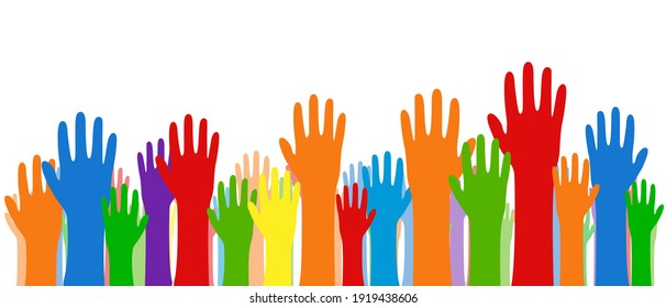 Vector illustration, many human hands raised up. Diversity of multinational people. Racial equality. Gender equality. Stock vector EPS 10