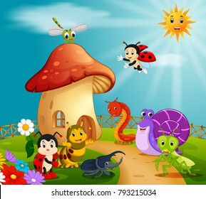 vector illustration of many insect and a mushroom house in forest