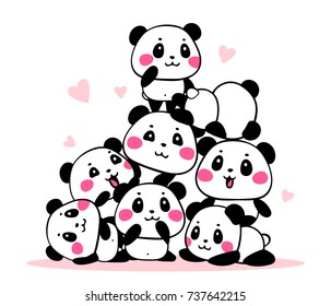 Vector illustration of many lovely cartoon pandas gathered in a heap on white background. Happy cute pandas are on each other in different poses. Flat line art style design for poster, greeting card