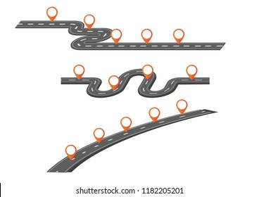 Vector illustration of many road map with many pointer