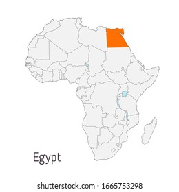 Vector illustration: Map of Africa with state borders. Egypt