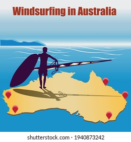 Vector illustration. Map of Australia with surf spots. Silhouette of a windsurfer and the inscription Windsurfing in Australia
