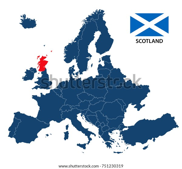 scotland in europe map Vector Illustration Map Europe Highlighted Scotland Stock Vector
