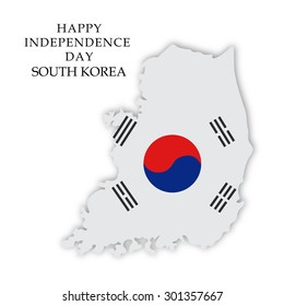 Vector illustration of a map fill with Flag color for South Korea Independence Day.