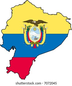 Vector Illustration of a Map and Flag from Ecuador