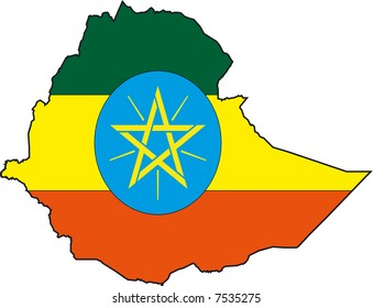 Vector Illustration of a Map and Flag from Ethiopia