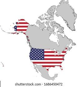 illustration vectorielle Carte et Drapeau des États-Unis avec l'Alaska et Hawaï