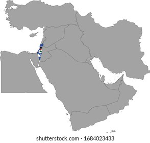 vector illustration of Map of Israel and Palestine with national flag