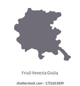 Vector illustration: map of Italy. Silhouette and contour of Italy. Friuli Venezia Giulia Region