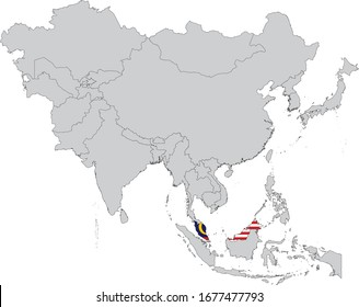 vector illustration of Map of Malaysia with national flag