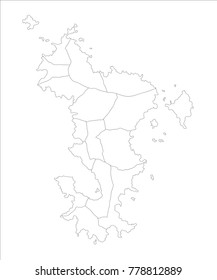 Vector Illustration Map of Mayotte (France) in white background for continue.