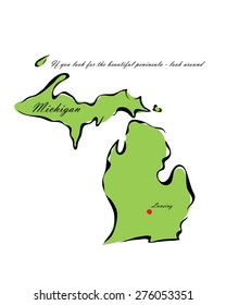 Vector illustration map Michigan is one of the states of America isolated on a white background