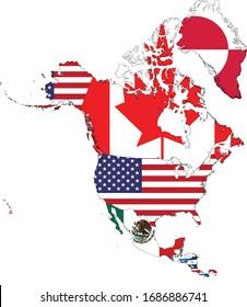 illustration vectorielle de la Carte des pays d'Amérique du Nord et d'Amérique centrale avec drapeau national