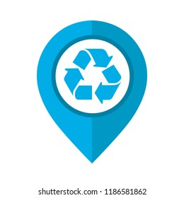 Vector illustration of map pointer with circle interior with recycling symbol