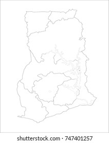 Vector Illustration Map of Republic of Ghana in white background for continue.