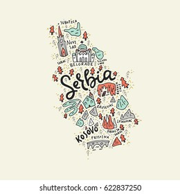 Vector illustration of the map of Serbia made with the captions and landmarks