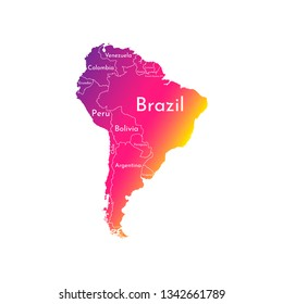 Vector illustration with map of South America continent. Trendy gradient color silhouettes, white background. Text with names of independent states