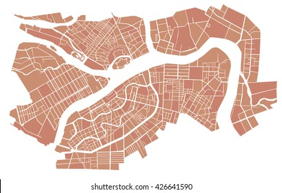 Vector illustration map of St. Petersburg.