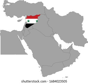 vector illustration of Map of Syria with national flag