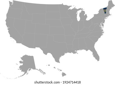 vector illustration of Map of US federal state of Vermont with state flag on gray USA map