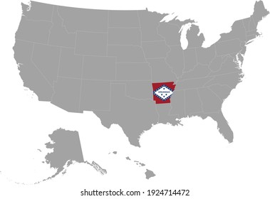 vector illustration of Map of US federal state of Arkansas with state flag on gray USA map