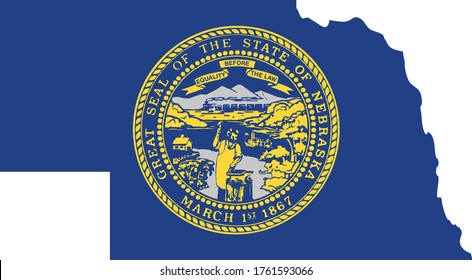 vector illustration of Map of US state of Nebraska with flag