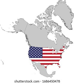 vector illustration of Map of USA with national flag