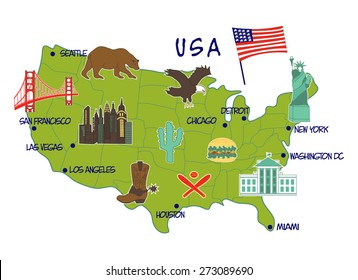 vector illustration of map of USA with typical features