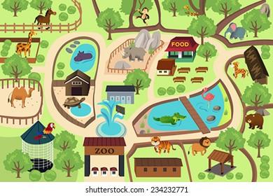 Map Zoo Park Stock Vectors, Images & Vector Art | Shutterstock Zoo Maps on