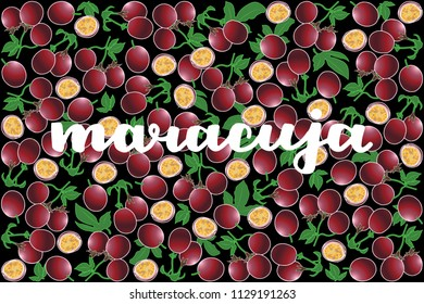 vector illustration of maracuja and leaf design with lettering maracuja background black and fruit EPS10