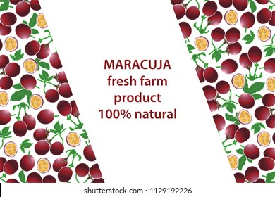 vector illustration of maracuja and leaf design background white and fruit and text fresh farm product 100% natural EPS10