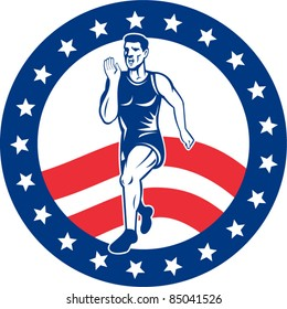 vector illustration of a illustration of a Marathon road runner jogger fitness training road running with American stars and stripes in background inside circle