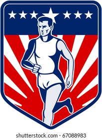 vector  illustration of a Marathon runner done in retro style with american flag stars and stripes and sunburst in shield background