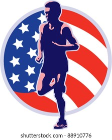 vector illustration of a marathon runner running jogging with American stars and stripes flag set inside circle on isolated white background done in retro style