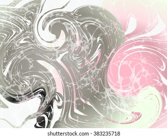 Vector Illustration of Marbling Texture  for Design, Website, Background, Banner. Ink Liquid Element Template. Watercolor Pattern. Pink, White, Silver, Grey
