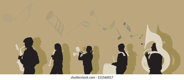Vector illustration of a Marching Band.