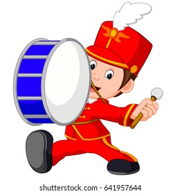 vector illustration of marching band banging a big bass drum