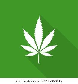 Vector illustration of marijuana leaf, cannabis. Isolate on green background