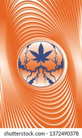 A vector illustration of a marijuana leaf surrounded by a psychedelic background.  11x17 aspect ratio