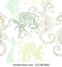 Vector illustration with marine animals such as golden fish, shark, sea horse