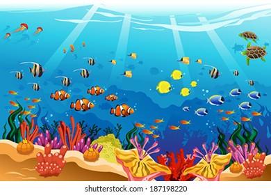 A vector illustration of marine underwater scene