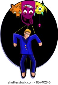 A vector illustration of a marionette, controlled by monsters. Can be recolored or scaled without problems and quality loss