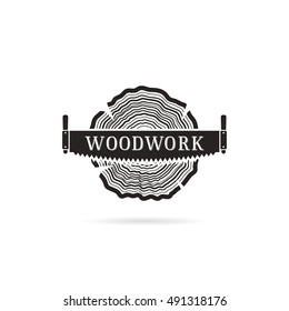 Vector illustration, mark, logo for design. The cut wood with a saw. Sign of Lumberjack, Woodwork.