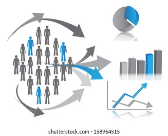 Vector illustration of market research, symbolized by population (or consumers) described through chart.